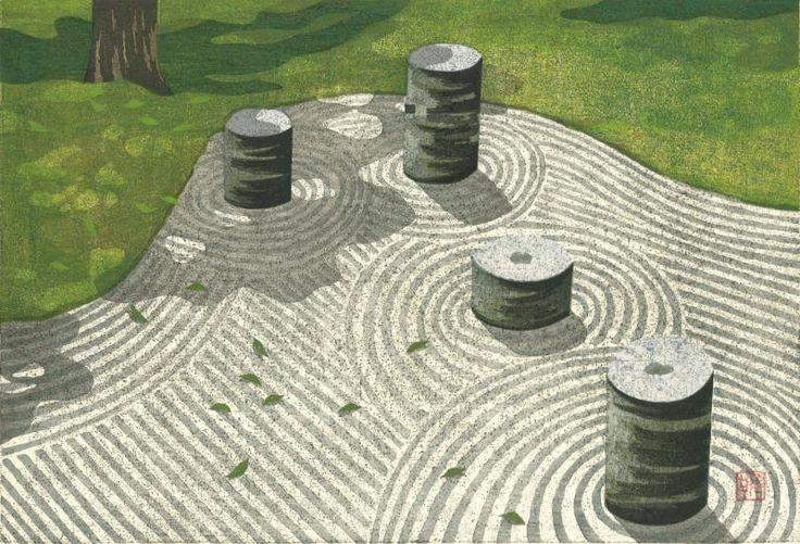 日本の庭は、日本人特有の思想や文化が映し出されています。そこには、独自な宇宙観があります。 会場に日本庭園に関する書籍や絵画を集め、作庭家   重森千靑氏の講演会を行い、 日本の伝統絵画技法 「多色摺り木版画」の第一人者として著名な井堂雅夫氏が精緻な技で 京都や奈良で長い歴史をもつ庭を 木版画で描いた絵画展を同時開催します。庭のなかに絶妙に配された石やつくばい、植栽など、美しい 日本の四季…