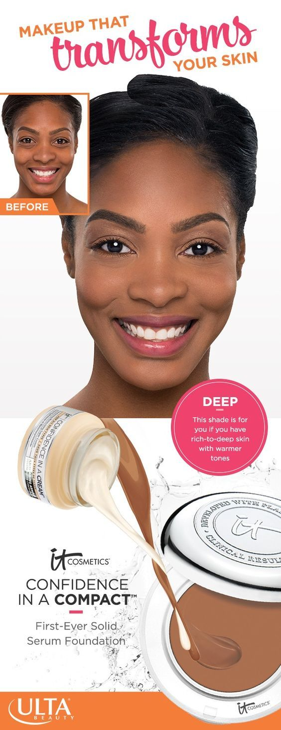 IT Cosmetics Confidence in a Compact foundation in Deep: perfect for rich-to-deep skin with warmer tones. This full coverage makeup doesn't just hide imperfections. It transforms skin and has all the hydrating and anti-aging benefits of Confidence in a Cream with SPF 50+.