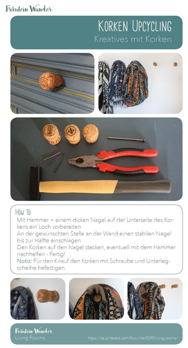 Upcycling - Kreatives mit Korken Aufhängung für Schals aus Korken Knauf aus Korken