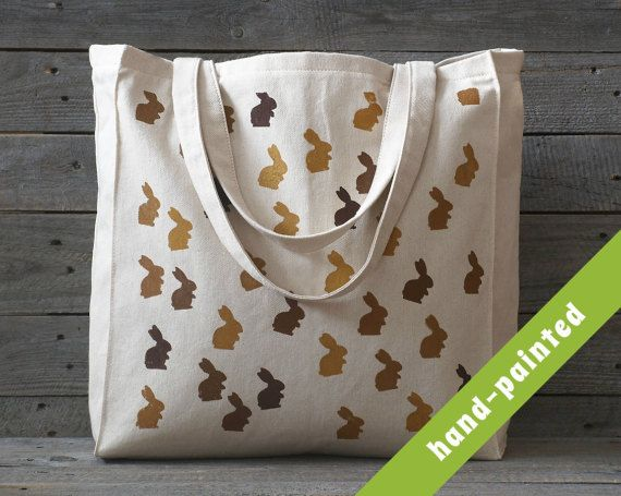 bunny tote bag / easter bunny / easter basket / by tsomoriri