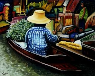 "Saatchi Art Artist Dan Civa; Painting, ""Floating Market, Bangkok, Thailand - No.D."" #art"