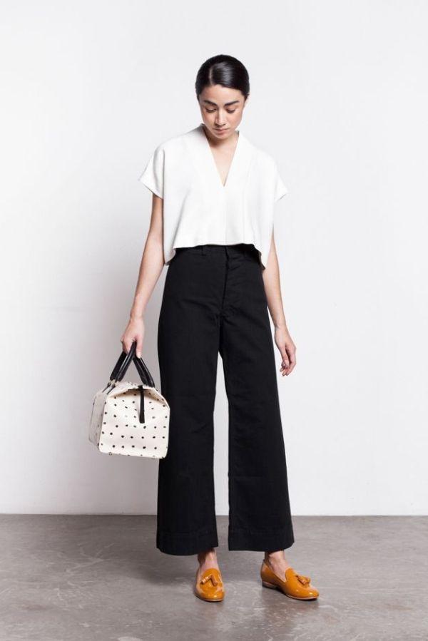 One of a Few — Jesse Kamm Sailor Pant- black Good neckline by lela