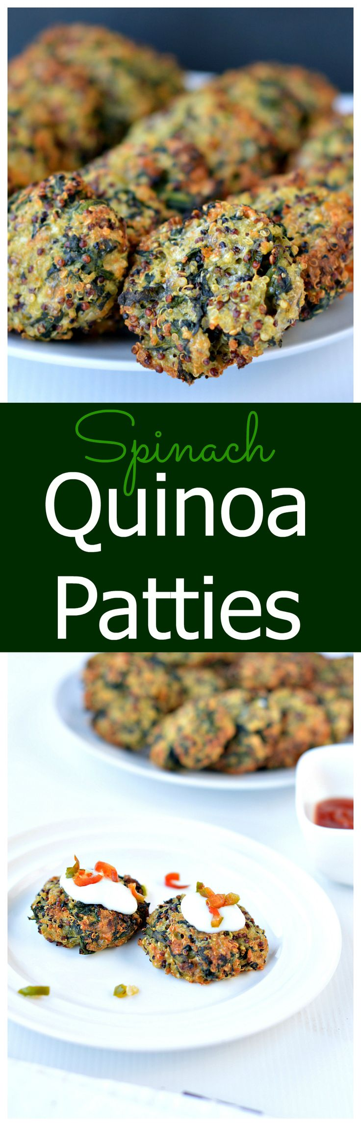 Baked Spinach & Quinoa Patties are crispy, made with only 5 ingredients and perfect to add into kids lunchboxes or use into vegetarian burgers. Add to salads as well