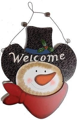 COWBOY SNOWMAN Wooden Hanging Wire Christmas Sign Decoration