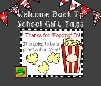 """Popcorn Gift Tags for Back To School Night / Open HouseGet these cute labels to attach to a bag of microwave popcorn as a Thank You Gift for your families to start the school year! These labels are super cute and ready to use with Avery labels # 5164 size 3.33"""" x 4"""" or print on paper and attach with double sided tape! Activity and PowerPo..."""