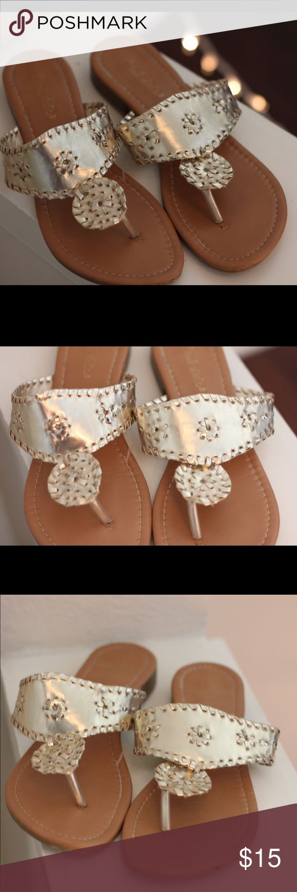 Jack Rogers look alike These are look alike Jack Rogers. Worn only twice! In perfect condition! They are a beautiful gold and look great with any outfit. Jack Rogers Shoes Sandals