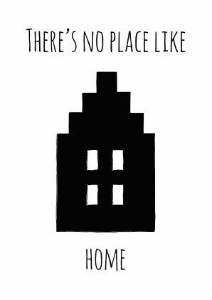 Wenskaart There's No Place Like Home <3 Verkrijgbaar bij Kaartje2go #words