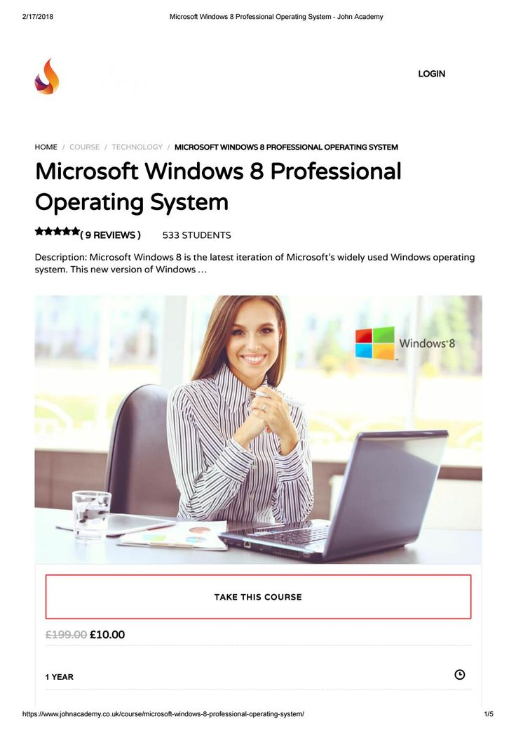 Microsoft windows 8 professional operating system john academy