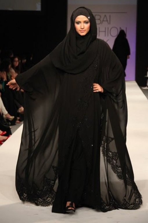 Black lace...sexy burka?    Dubai Abayas 2012 Fashion