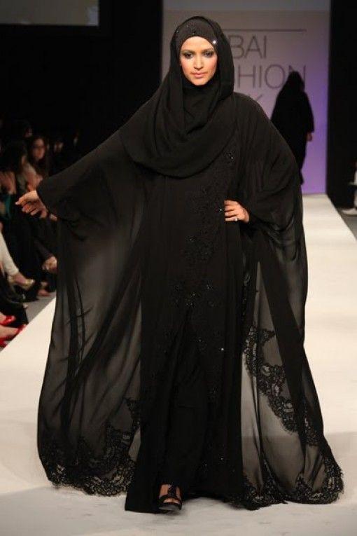 Black lace...sexy burka?    Dubai Abayas 2012 Fashion