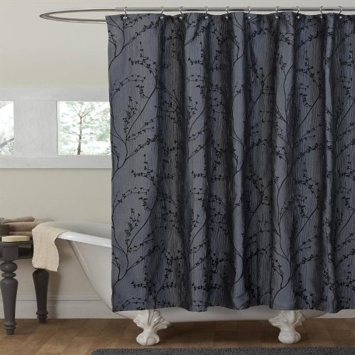 featuring an elegant black floral design this textured shower curtain will make a beautiful addition to your existing decor