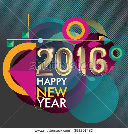 Happy new 2016 year colorful vector design, geometric background - stock vector