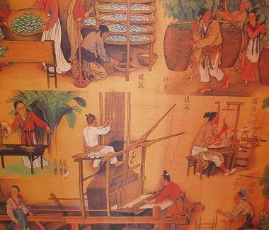 Qing Farming- As well as farming in the Qing community weaving was also taken up as a means of extra money to live a sustainable life.