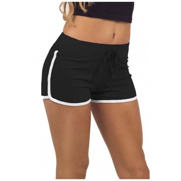 Women Elastic Waist Drawstring Piped Running Shorts (28 AUD) ❤ liked on Polyvore featuring activewear and activewear shorts