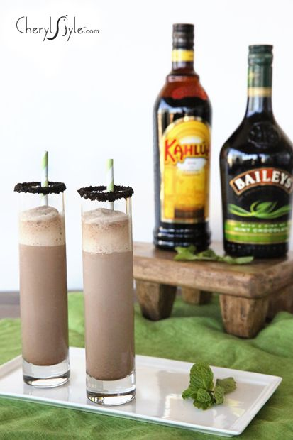 It's not fair for just the kids to have all the fun so whip up a couple of adults-only frozen mint Baileys Kahlua mudslides.