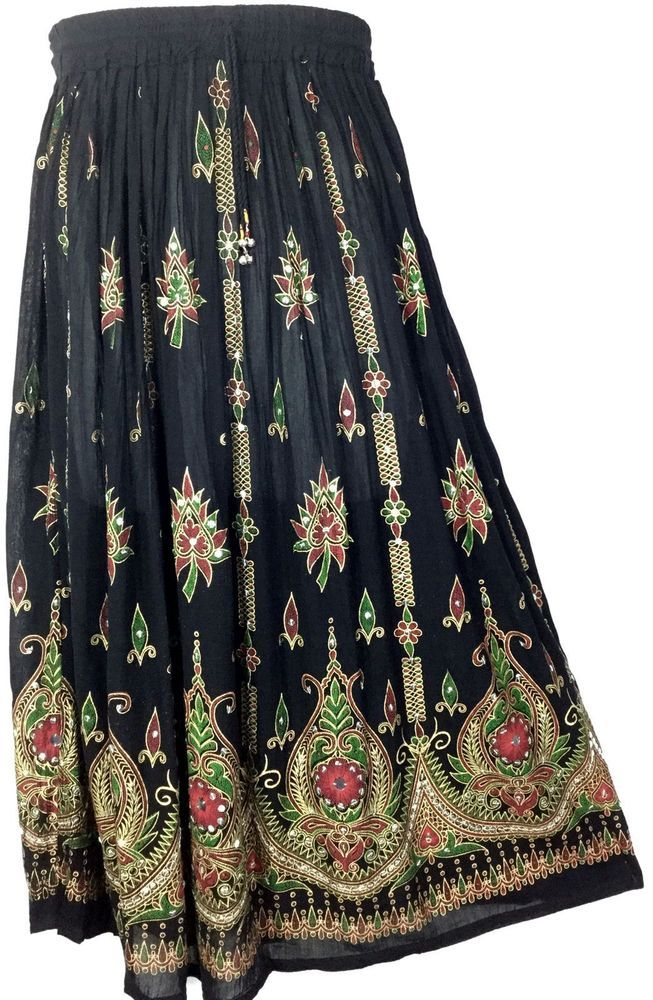 Bollywood Indian Boho Hippie Long Sequin Skirt Mexican Tribal Peasant Black Fuch #Handmade #ALine