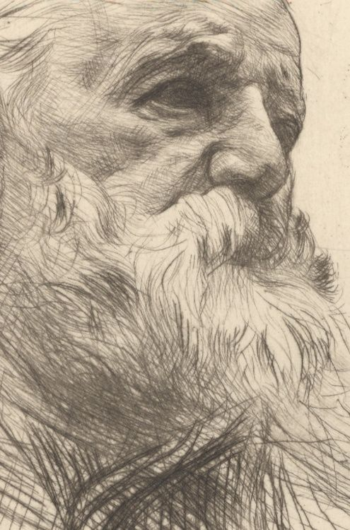 Rodin, portrait of Victor Hugo    drypoint. (detail)