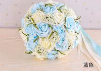 2015 azul bonito do casamento buquê de noiva flor de dama de honra buquê de casamento flor Artificial Rose Bouquet