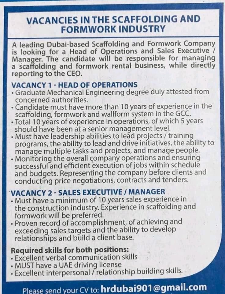 Multiple Openings Uae Uae Job Multiple