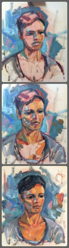 process of this painting, done in 1,5 hour, from life model. #paintingprocess #portrait #makingof werkvankemp.nl