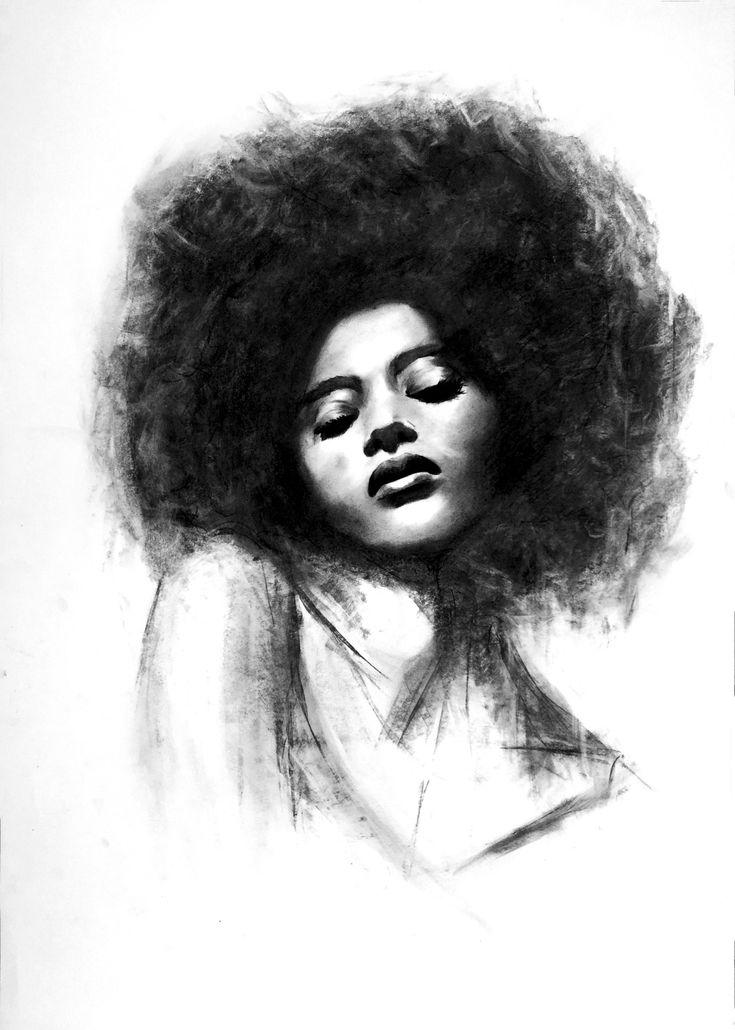 Afro girl. Charcoal piece by Denny Stoekenbroek
