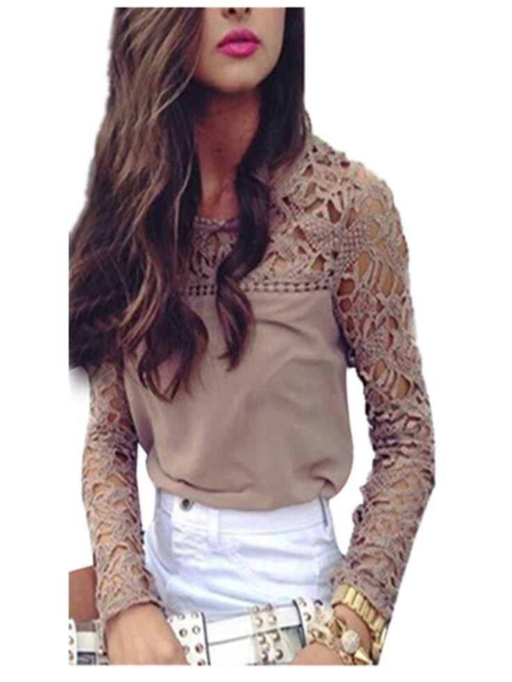 KingSo® New Womens Ladies Long Sleeve Embroidery Lace Top Chiffon Shirt Blouse Khaki UK 12-14/US XL