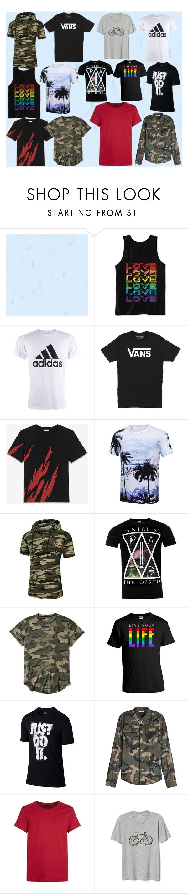 """""""mens shirts"""" by andieok on Polyvore featuring Hybrid, adidas, Vans, Yves Saint Laurent, Hollister Co., NIKE, Valentino, J.Lindeberg, Gap and men's fashion"""