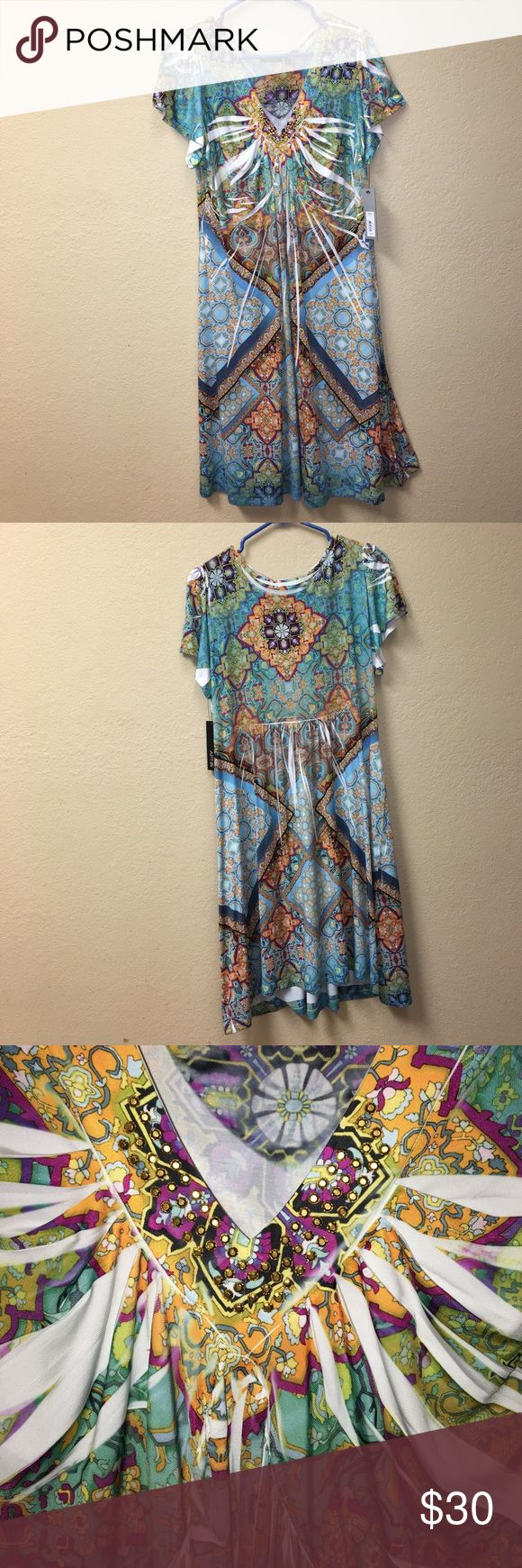 New Apt 9 Summer Casual Dress Light Weight Dress 94 % Poliéster 6 Spandex women's blue and yellow floral v-neck dress Apt. 9 Dresses Mini