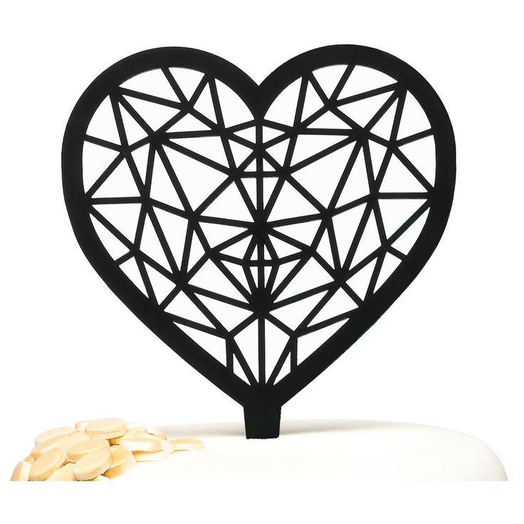 Geo Heart Cake Pick, Black