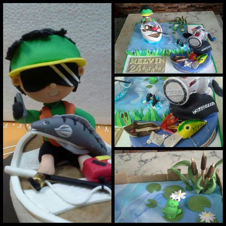 Fishing cake for my brother 24 birthday, based on his fishing trip to Malaysia