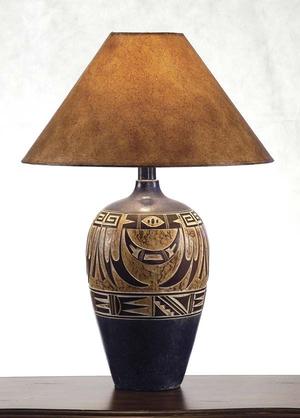 Desert Collection Lamp 182NV Western Lamps - From our Made in the USA Desert Collection. Southwestern inspired design on dark navy and tan base.