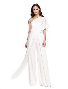 TS Couture® Formal Evening Dress - Ivanka Style / Celebrity Style Sheath / Column One Shoulder Floor-length Chiffon  – USD $ 255.00