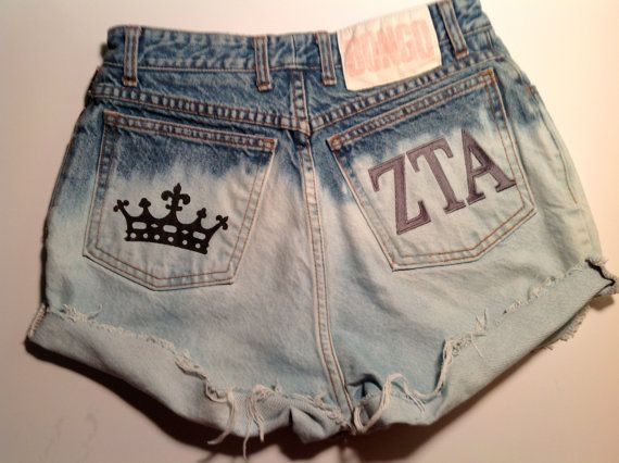 ZTA High Waisted Shorts Crown Print Embroidered Zeta Tau Alpha YOUR SIZE Sizes 00-12 via Etsy