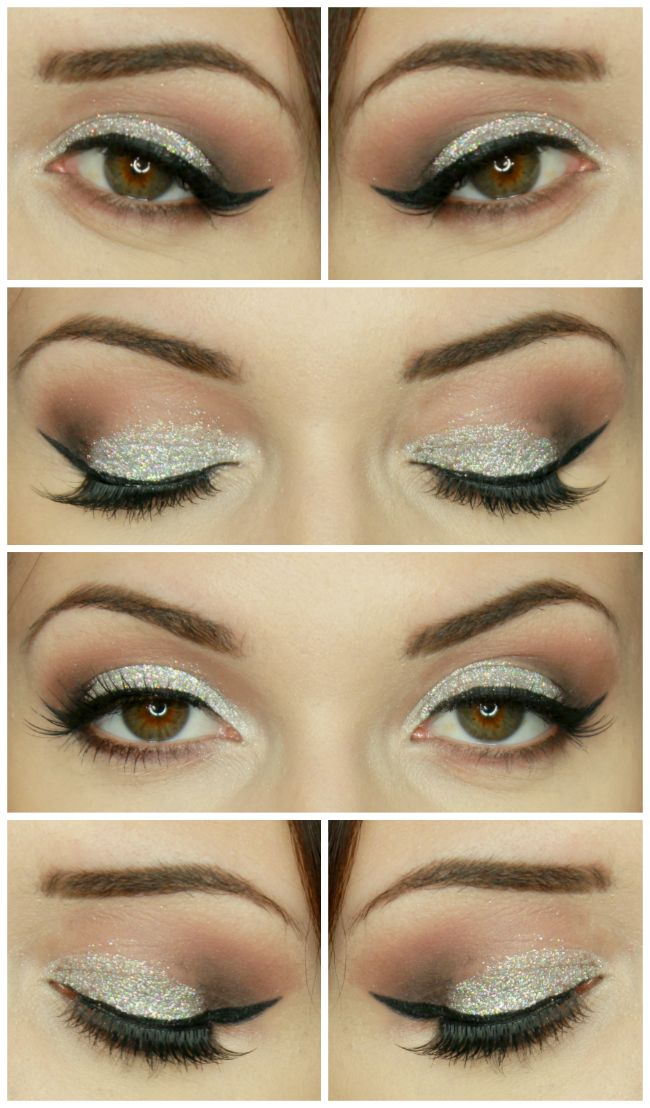 maquillage de no l paillettes argent christmas makeup glitter cut crease makeup pinterest. Black Bedroom Furniture Sets. Home Design Ideas