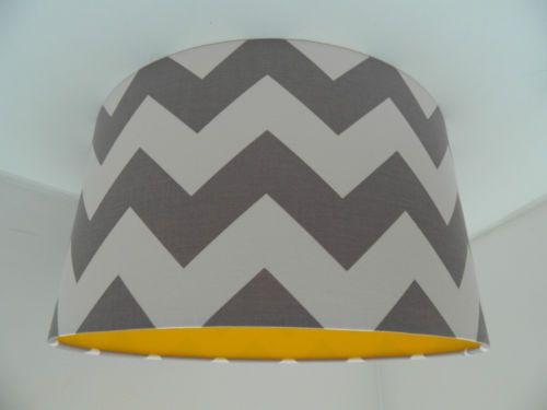 Handmade Chevron Fabric & Yellow Vinyl Lampshade | eBay
