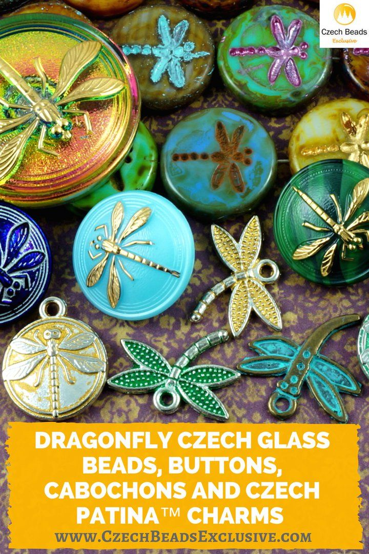 ️Dragonfly Czech Glass Beads, Buttons, Cabochons and Czech Patina™ Charms  Different Colors & Shapes! - Buy now with discount! www.CzechBeadsExclusive.com/+dragonfly  Hurry up - sold out very fast! SAVE them! #czechbeadsexclusive #czechbeads