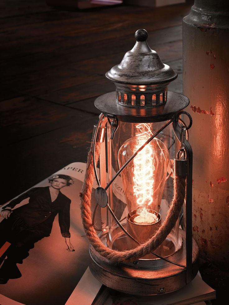 Eglo Lighting Vintage Collection / Bradford / Clear Glass Round Hurricane Style Table Lamp with Rope