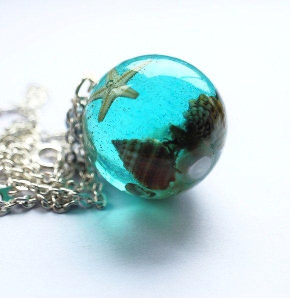 The Mermaid's Necklace 02 Nautical Jewelry Resin Orb Starfish Tiny Seashells Pearl Specimen Necklace Fairy Tale Fantasy Unique Handmade