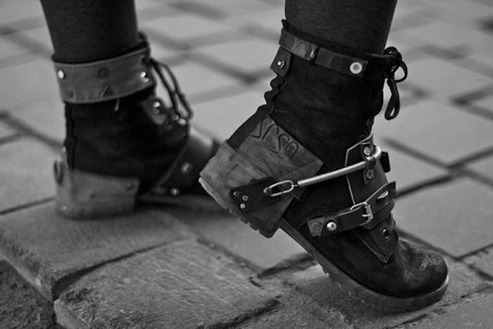 Visions of the Future: Needs a harder pair of boots. cyberpunk, industrial boots, future, punk, strange, unique, cyberpunk boots