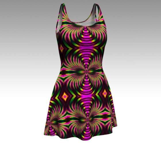 Psychedelic Dress Tribal Dress Festival Dress Flare Dress