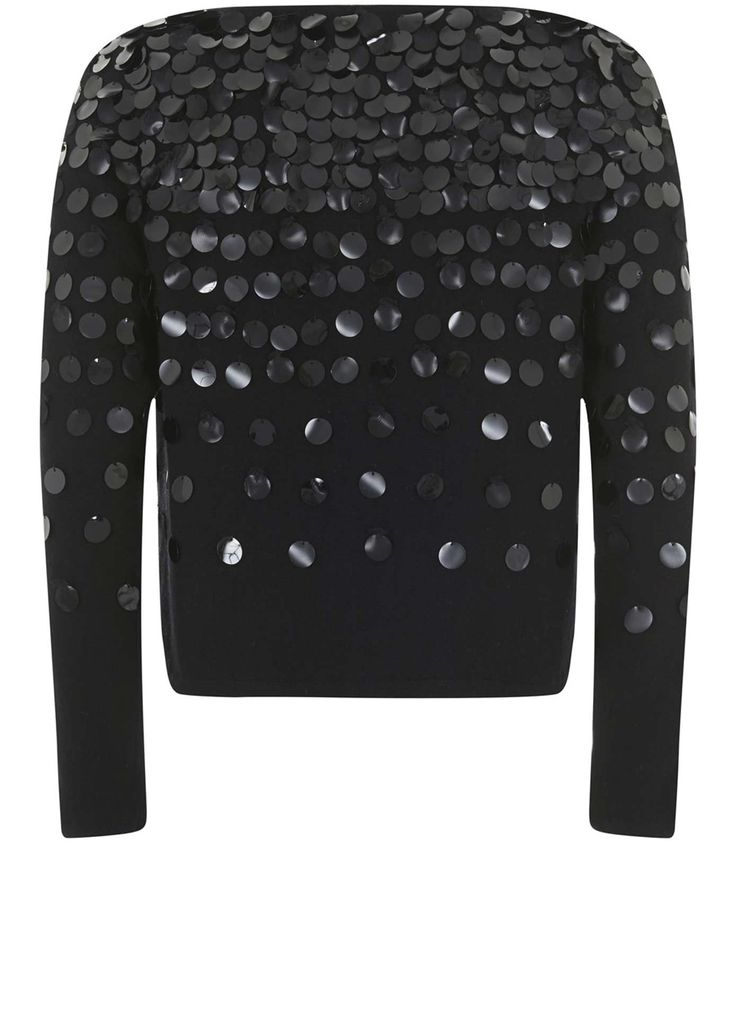Black Sequin Cropped Cardigan