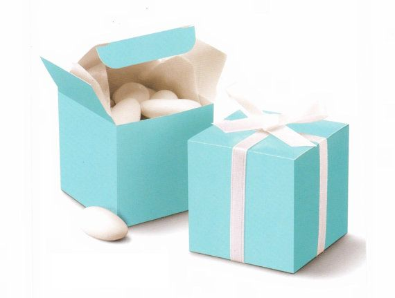 "100 pcs , Tiffany Blue Cube Wedding Favor Boxes 2""x2""x2"" 
