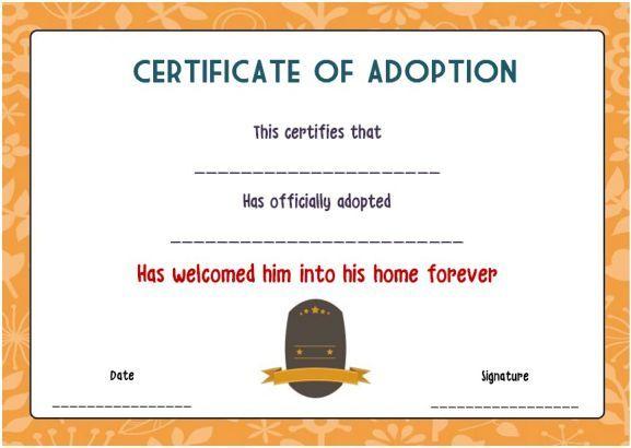 free blank adoption certificate