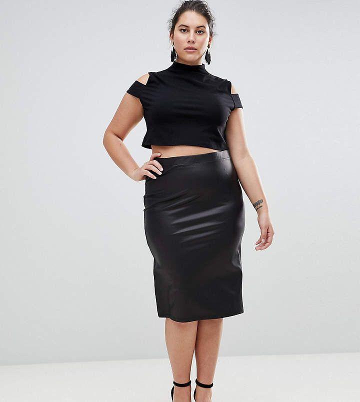ASOS Curve ASOS CURVE Leather Look Pencil Skirt