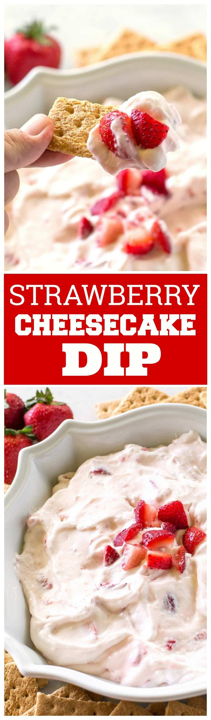 Strawberry Cheesecake Dip made with fresh strawberries and fresh whipped cream! the-girl-who-ate-everything.com