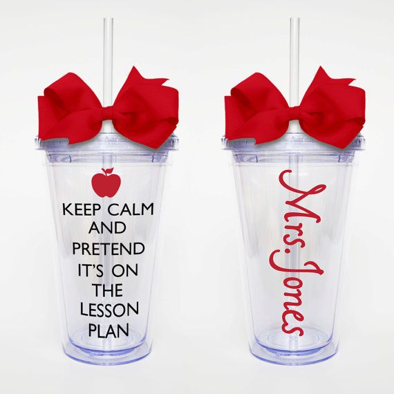 Keep Calm Lesson Plan w/ name Acrylic Tumbler by SweetSipsters