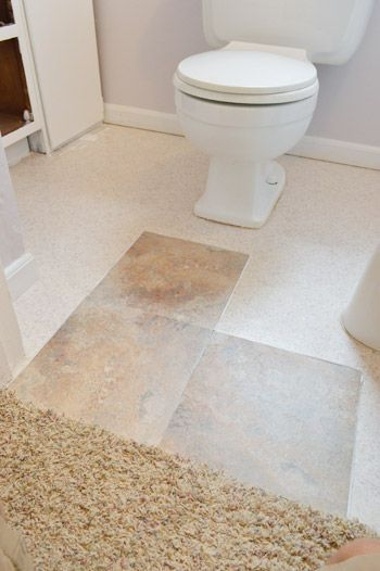 How to set vinyl stick tiles right over ugly linoleum a for Stick on linoleum floor