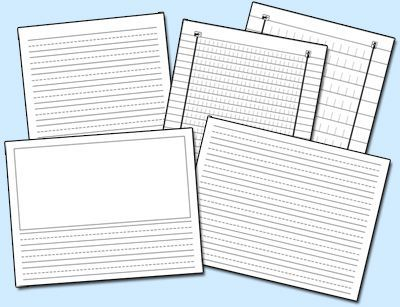 Print-your-own writing paper. (Includes a variety of sizes.)