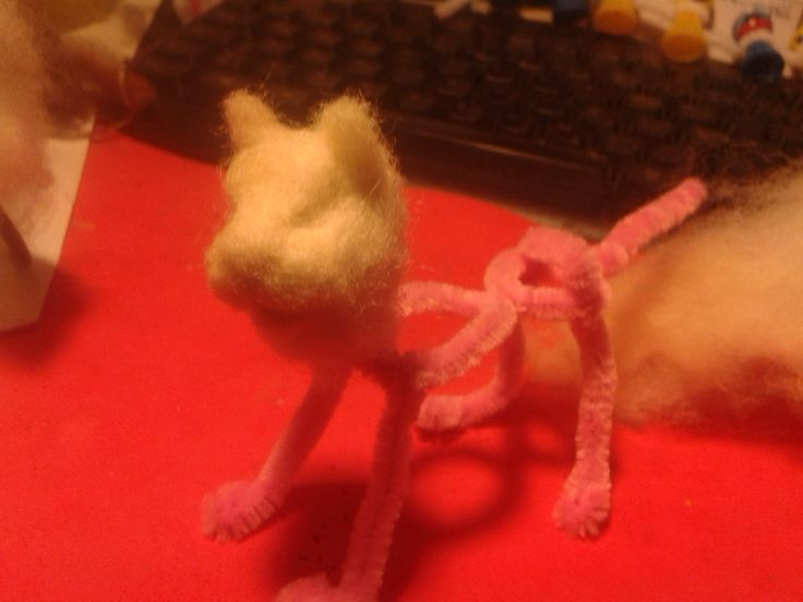 cat needle felting in progress by annakreativ50
