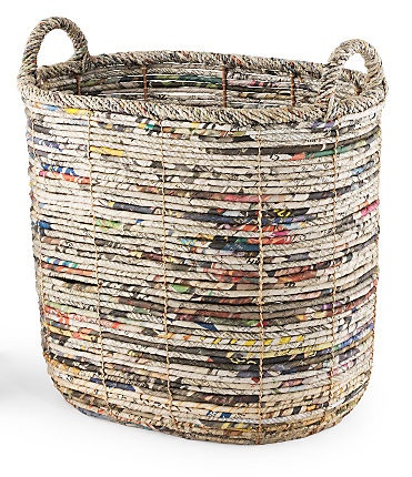basket made from recycled newspaper